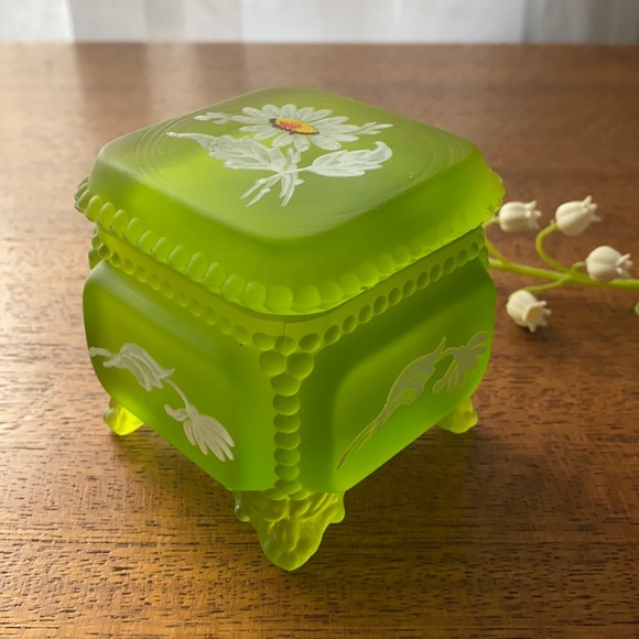 Westmoreland Lime Green Hand Painted Trinket Box